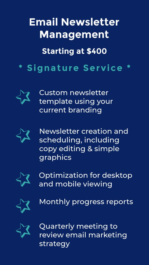 Work with me for email newsletter signature services